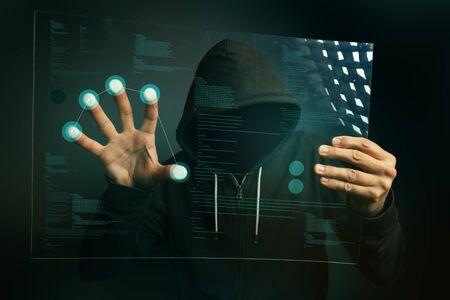identification: Fingerprint identification app on futuristic tablet computer device, hooded computer hacker hacking biometric security internet system.