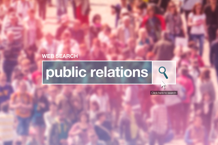 thesaurus: Public relations web search box on internet page. Stock Photo