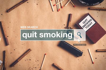 glossary: Quit smoking web search box glossary term on internet Stock Photo