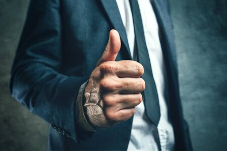 endorsing: Gaining bosses approval, businessperson gesturing thumb up for endorsing or approving employees work, concept of success and good work in business.