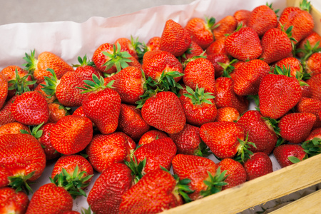 heap up: Fresh organic strawberries in crate on farmers market, homegrown fruit produce, selective focus