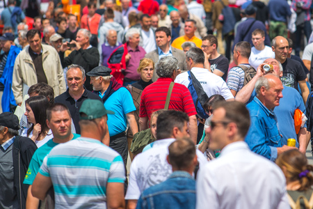 83rd: NOVI SAD, SERBIA - MAY 19, 2016: Crowd of people walking at 83rd traditional annual international Agricultural fair in Novi Sad, largest agribusiness event in Serbia and one of the largest in Europe.