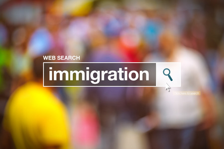 internet browser: Immigration in internet browser search box, conceptual image Stock Photo