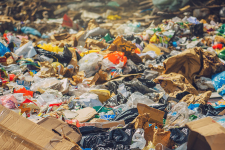 waste material: Garbage dump, various trash and waste material, environmental pollution and ecology concept, selective focus Stock Photo