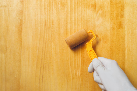 redecorating: Hand with paint roller applying acrylic lacquer on wooden board, non toxic water based lacquer wood coating for furniture redecorating. Stock Photo