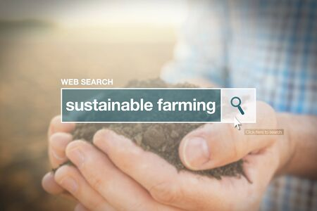 term: Sustainable farming web search bar glossary term  in internet glossary. Stock Photo