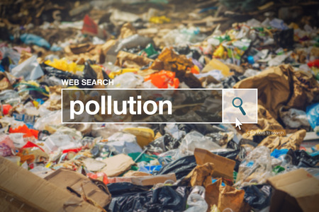 dispose: Pollution in internet browser search box with landfill detail in background.