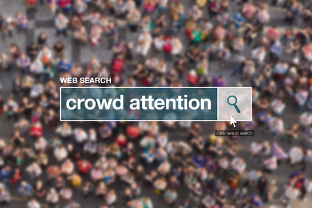 glossary: Crowd attention web search box, looking for definition in internet glossary. Stock Photo