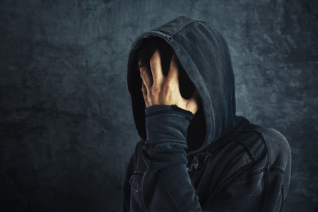 abstinence: Hooded person fighting addiction crisis, drug or alcohol addict in abstinence period