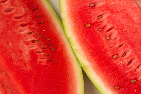 close up view: Close up of sliced watermelon fruit, top view, selective focus