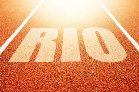 sport event: Rio title on athletic running track, conceptual image for sport event taking place in Brazil Stock Photo