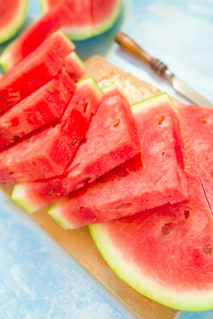 mouthwatering: Watermelon slices, fresh and sweet summer dessert Stock Photo