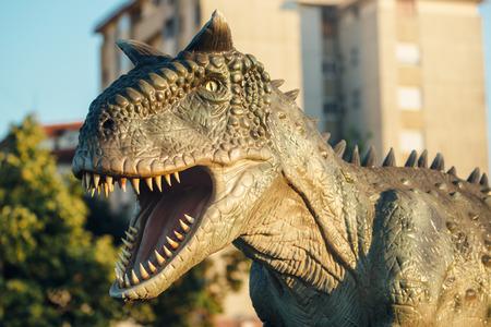 bipedal: NOVI SAD, SERBIA - AUGUST 5, 2016: Carnotaurus life size model of prehistoric animal in theme entertainment Dino Park. This was bipedal predator, measuring 8 to 9 m.