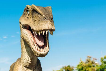 raptor: NOVI SAD, SERBIA - AUGUST 7, 2016: Velociraptor life size model of prehistoric animal in theme entertainment Dino Park. Raptor lived approximately 75 to 71 million years ago.