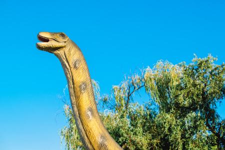brontosaurus: NOVI SAD, SERBIA - AUGUST 5, 2016: Brontosaurus life size model of prehistoric animal in theme entertainment Dino Park. Species of Brontosaurus range in age from 155 to 152 million years ago. Editorial