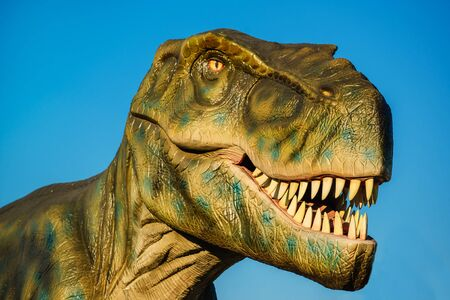 one animal: NOVI SAD, SERBIA - AUGUST 5, 2016: Tyrannosaurus life size model of prehistoric animal in theme entertainment Dino Park. T-rex was one of the largest land carnivores of all time.