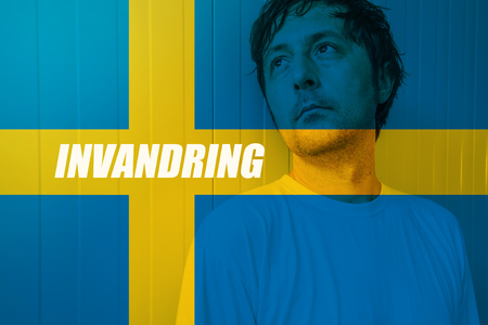 immigrate: Immigrate to Sweden concept, Invandring meaning Immigration in Swedish, with man looking for salvation in Scandinavian country Stock Photo