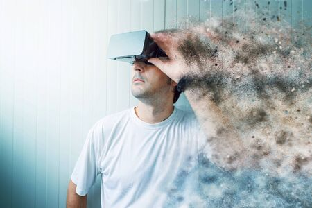 Man exploring virtual reality environment and enjoying realistic multimedia content in 3d.