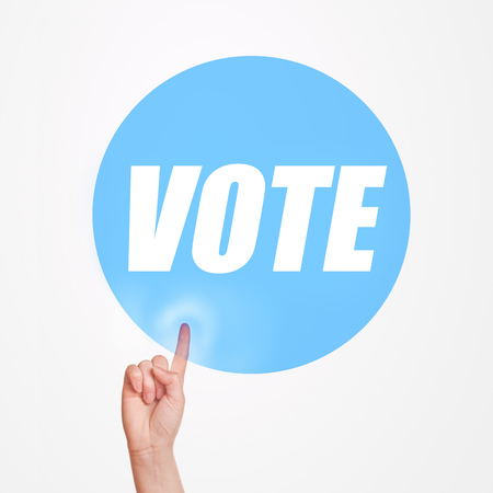 promoting: Vote on elections concept, finger pushing button promoting idea of taking participation in political rally
