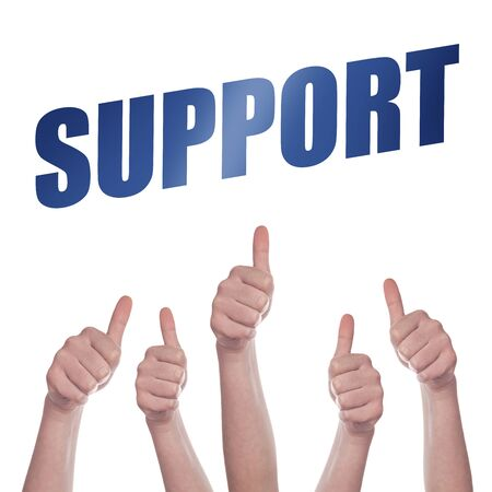 approving: Thumbs up for Support concept, hands approving and endorsing Stock Photo