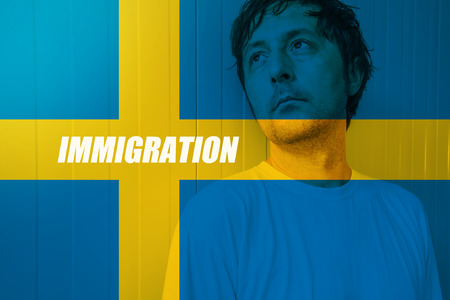 the salvation: Swedish immigration concept with man looking for salvation in Sweden Stock Photo