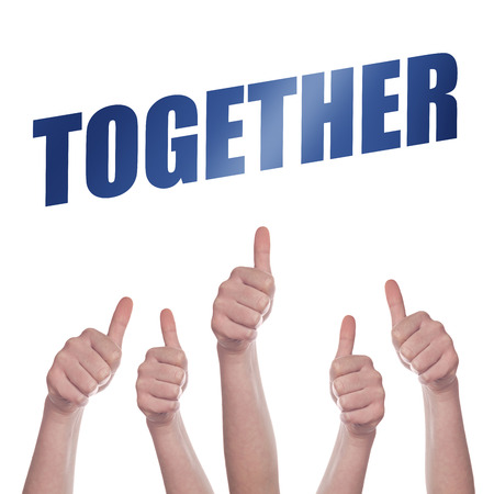 acclaim: Thumbs up for Together concept, hands approving and endorsing