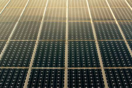 modules: Sunlight on solar panels photovoltaic cell modules Stock Photo