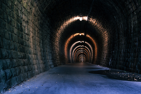 vanishing point: Endless tunnel as abstract background with vanishing point perspective Stock Photo
