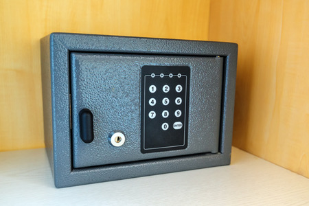 secret code: Hotel room safety deposit box with electronic PIN lock code
