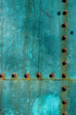 patina: Oxidized copper plate surface texture, abstract corroded metal background Stock Photo