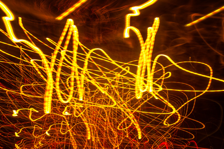 smeared: Traffic light paint with long exposure, colorful abstract motion blur background Stock Photo
