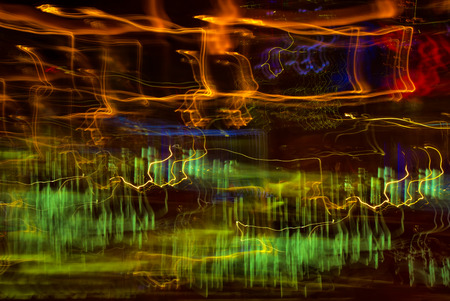 Traffic light paint with long exposure, colorful abstract motion blur background Stock Photo