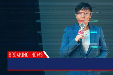 doing business: Breaking news with digital glitch effect - elegant female television journalist doing business reportage, holding microphone in hands