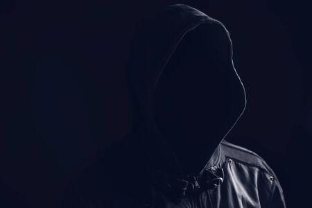 hooligan: Unrecognizable faceless spooky hooded hooligan, low key