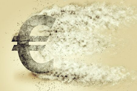 dissolving: Euro sign exploding and dissolving, concept of currency devaluation and inflation