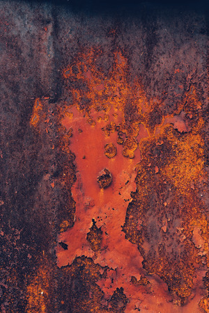 corroded: Corroded industrial background, rusty metal plate surface texture, top view