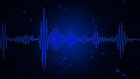 サウンド、音楽、録音、音声認識の背景の可聴周波スペクトル波形抽象的なグラフィック表示