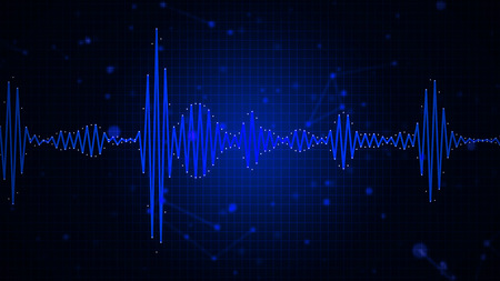 Audio spectrum waveform abstract graphic display for sound, music, recording, speech and voice recognition background