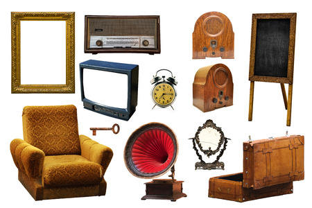 vintage objects: Collection of vintage retro home related objects isolated on white background - picture frame, radio device, armchair, gramophone, key, mirror, leather suitcase, alarm clock, information board and tv set.