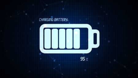 rechargeable: Battery charging icon illustration, rechargeable energy power for mobile electronics devices concept