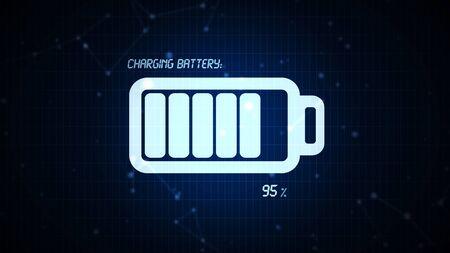 Icona della batteria carica illustrazione, energia elettrica ricaricabile per dispositivi elettronici mobili concetto Archivio Fotografico - 70561656