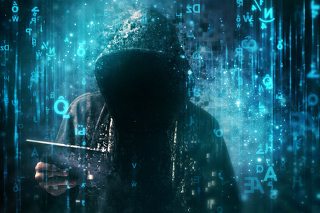 Computer hacker with hoodie in cyberspace surrounded by matrix code, online internet security, identity protection and privacy