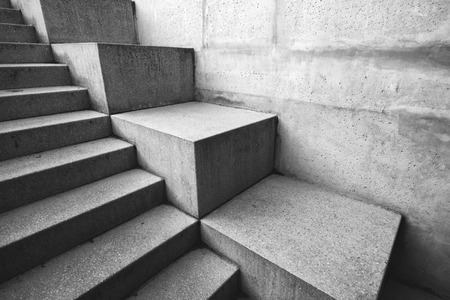 Concrete staircase as abstract architectural background, monochromatic image