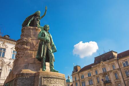 LJUBLJANA, SLOVENIA - FEBRUARY 19, 2017:  Preseren monument in Ljubljana, bronze statue of the Slovene national poet France Preseren in the capital of Slovenia. It is among the best-known Slovenian monuments.