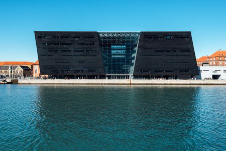 COPENHAGEN, DENMARK - MARCH 11, 2017: Black Diamond, modern waterfront extension to the Royal Danish Library in Copenhagen. Designed by Danish architects Schmidt Hammer Lassen.