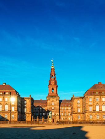 danish: COPENHAGEN, DENMARK - MARCH 11, 2017: Christiansborg Palace in Copenhagen Denmark, Danish parliament building. Parts of the palace are used by Danish monarch, including the Royal Reception Rooms. Editorial