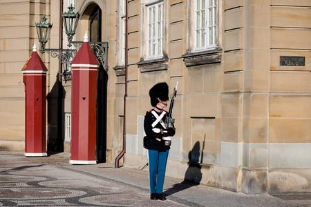 frederik: COPENHAGEN, DENMARK - MARCH 11, 2017: Amalienborg Palace, Copenhagen. Royal Life Guards (Danish: Den Kongelige Livgarde), infantry regiment of Denmark Army, founded in 1658 by King Frederik III Editorial