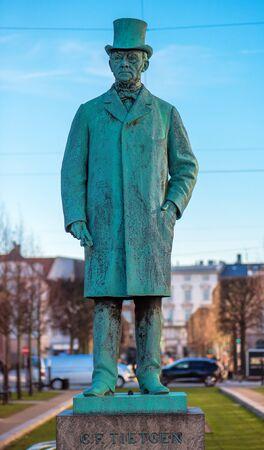 COPENHAGEN, DENMARK - MARCH 11, 2017: Statue of Tietgen at Sankt Annae Plads in Copenhagen. Carl Frederik Tietgen (19 March 1829 - 19 October 1901) was a Danish financier and industrialist.