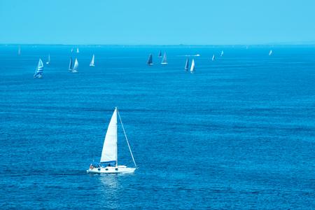 calmness: White yachts sailing at sea, idyllic summertime scenery