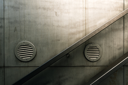 building structure: Urban staircase handrail, detail from street underground passage way Stock Photo